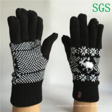 Mode hiver Femmes Garçons Polyester Acrylique Tricoté Gants à rayures Gants en tricot à écran tactile Gants d'hiver dans l'échantillon gratuit