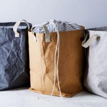 пользовательская моющаяся сумка для хранения luandry из крафт-бумаги