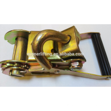 2'' 50mm Long Wide Handle Ratchet Buckle with Wire J hook
