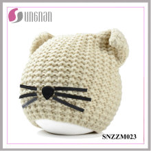 Casco hecho punto creativo caliente 2016 de las lanas del sombrero del oído del gato del invierno (SNZZM023)