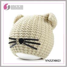 2016 hiver chaud Creative chat oreille chapeau laine tricoté casque (SNZZM023)