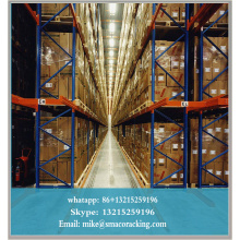 Powder Coated narrow aisle racking system Q235B used High Density storage rack