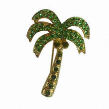 Coconut Tree Brooch, Made of Alloy with Shiny Green Rhinestones, Gold-plated