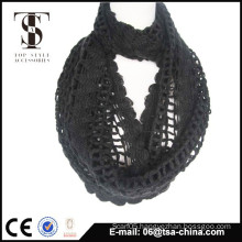 Newest style black color fashionable handmade crochet scarf