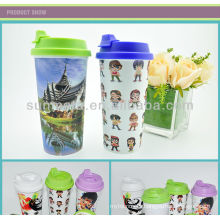 3D sublimation plastic Straight mug DIY picture drinking cups