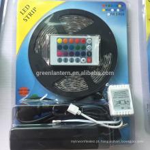 12 V 5 M 300 leds cor mudando 60led / m flexível rgb levou faixa 5050 conjunto completo com controle remoto / adaptador de alimentação