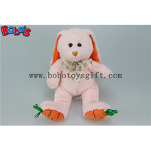 "9.5"" Pink Plush Rabbit Toy with Embroidery Carrot Feet Bos1157"