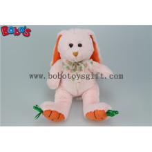 """9,5 """"brinquedo de coelho de pelúcia rosa com pés de cenoura bordado Bos1157"""