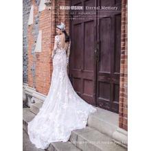 Vestido de noiva de manga longa rendas sereia nupcial