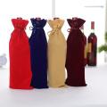 Customized Velvet wine bag with drawstring