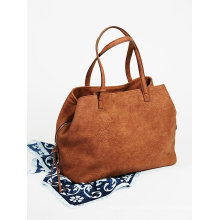 Fashion Triple Pocket Slouchy PU Tote for Lady
