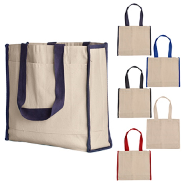 Flat bottom canvas bag