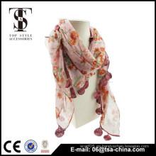 Nuevo! Toalla suave del mantón de la borla de la bufanda de las mujeres de la manera de la flor