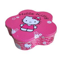 Caja de la lata de la joyería de la caja de la lata de la galleta de la forma de la flor