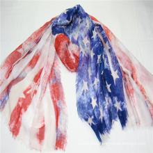 hotsale American pattern print scarf  fringe on four side super soft hand feeling