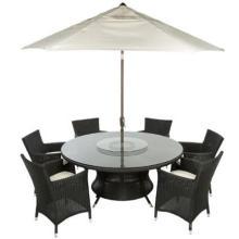 Table ronde de jardin rotin, salle à manger verre rotatif