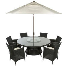 Garden Rattan Dining Rotary Glass Round Table
