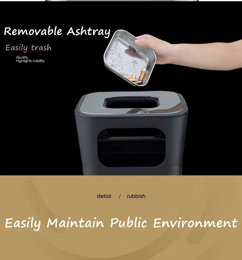 Trash Bin with Ashtray