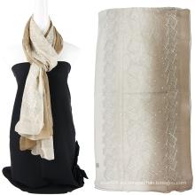 Comercio al por mayor de la bufanda de seda del emboidery del color de dos tonos con Sequins