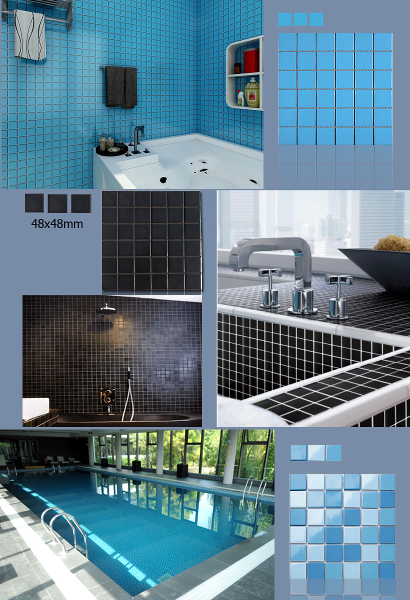 white mosaic pool tiles