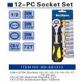 """12PCS 1/2 """"Socket Set avec Socket & Ratchet & Extension Bar"""