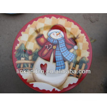 KC-02520decorative plate for christmas,snowman round flat plate