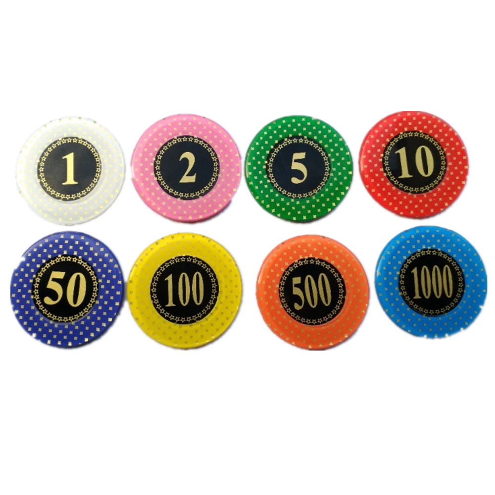 Acrylic Poker Chips With Hot Stamping Logo And Numbers