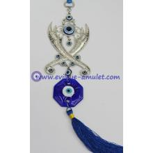 Turkish evil eye pendant cross swords machete wall home decoration
