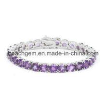 Moda joias de prata ametista pulseira (BR0015)