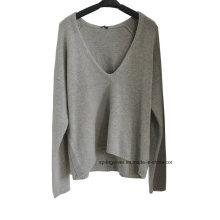 100% Cashmere Deep Vee Neck Pullover Camisola das senhoras da malha