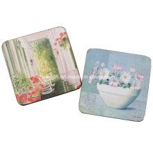 Промоциональное украшение для дома Сквер Корк Coaster, Пользовательские деревянные Coaster, МДФ Coaster