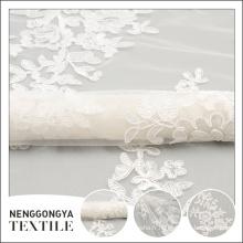 Chine usine à la mode ruban brodé tulle fleur de tissu blanc