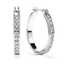 Venta caliente 925 joyería de plata de los pendientes del aro con la CZ blanca