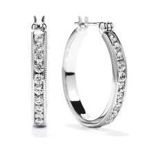 Hot Sales 925 Silver Hoop Brincos Jóias com CZ Branca