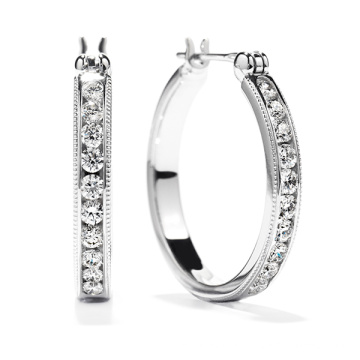 Hot Sales 925 Silver Hoop Earrings Jewelry with White CZ