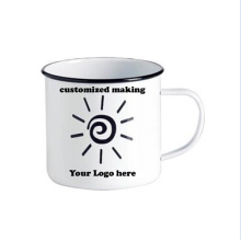 Personalisierte Herstellung 8/9/10/11 / 12cm weiße Emaille-Tee-Kaffeetasse