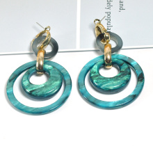 Pied Variegated Avocado Green double link chain acrylic resin earring for girl gold filled clip on earrings