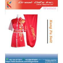 Ladies polyester black satin with white embroidered logo and buttons fashion costume / kung fu suit