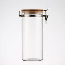 Frascos de armazenamento de vidro de cozinha com tampa superior de grampo