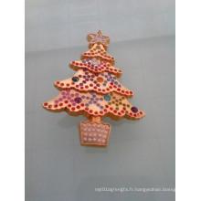 Insigne d'arbre de Noël Shinning or avec diamants (GZHY-LP-005)