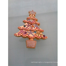Сверкающих Золотой значок Рождества Елка с бриллиантами (GZHY-ЛП-005)