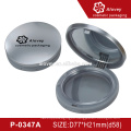 Matte Silver Round Shaped Empty Compact Powder Container