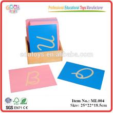 Letras de alfabeto de madeira Papel de lixa educacional Letras de letras, maiúscula Cursiva, com caixa (mão direita)