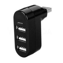 Premium 3-Port Mini USB 2.0 Rotatable Hub