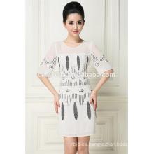 vestido de una pieza bordado de la mano del bordado de la señora del grano de los diseños del bordado
