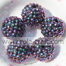 20*22MM Top Sale Purple Multicolor Acrylic Resin Rhinestone Round Beads