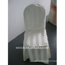 polyester chair cover with stripe,CT497 ivory/beige/cream color,banquet chair cover,250GSM best quality