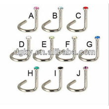 Vente chaude europe fashion bent en acier inoxydable nose rings body piercing