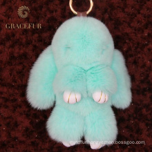 Quality assurance fluffy ball rex rabbit fur pom-pom keychain fur accessories