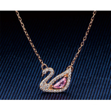 European American Fashion Jewellery Jewelry Pink Diamond Crystal Swan Pendant Necklace Austria Romantic Charming Clavicle Chain Thin Chain Necklace for Women